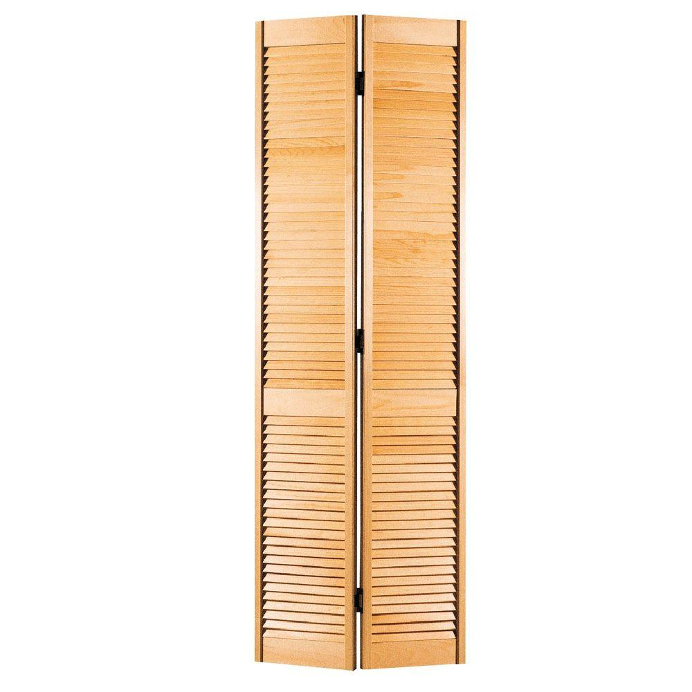 Full Louvered Unfinished Hollow Core Pine Bi Fold Door