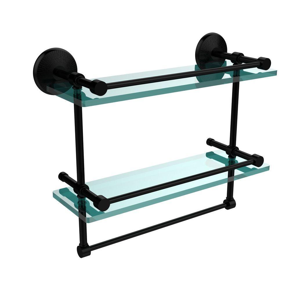 Monte Carlo 16 in. L  x 12 in. H  x 5 in. W 2-Tier Clear Glass Bathroom Shelf with Towel Bar in Matte Black