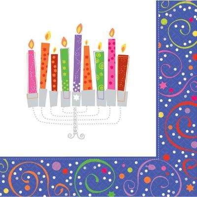 5 in. x 5 in. Playful Menorah Beverage Napkins (16-Count, 5-Pack)