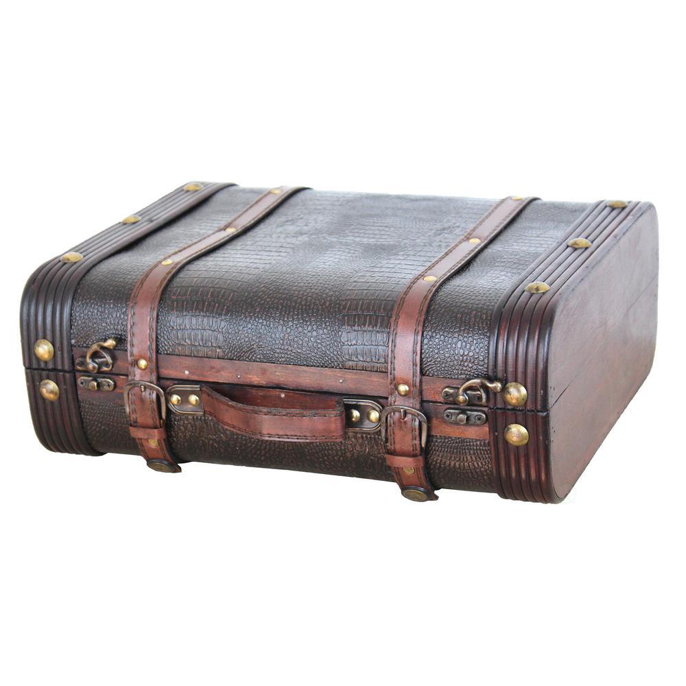 Vintiquewise Decorative Wooden Leather Suitcase
