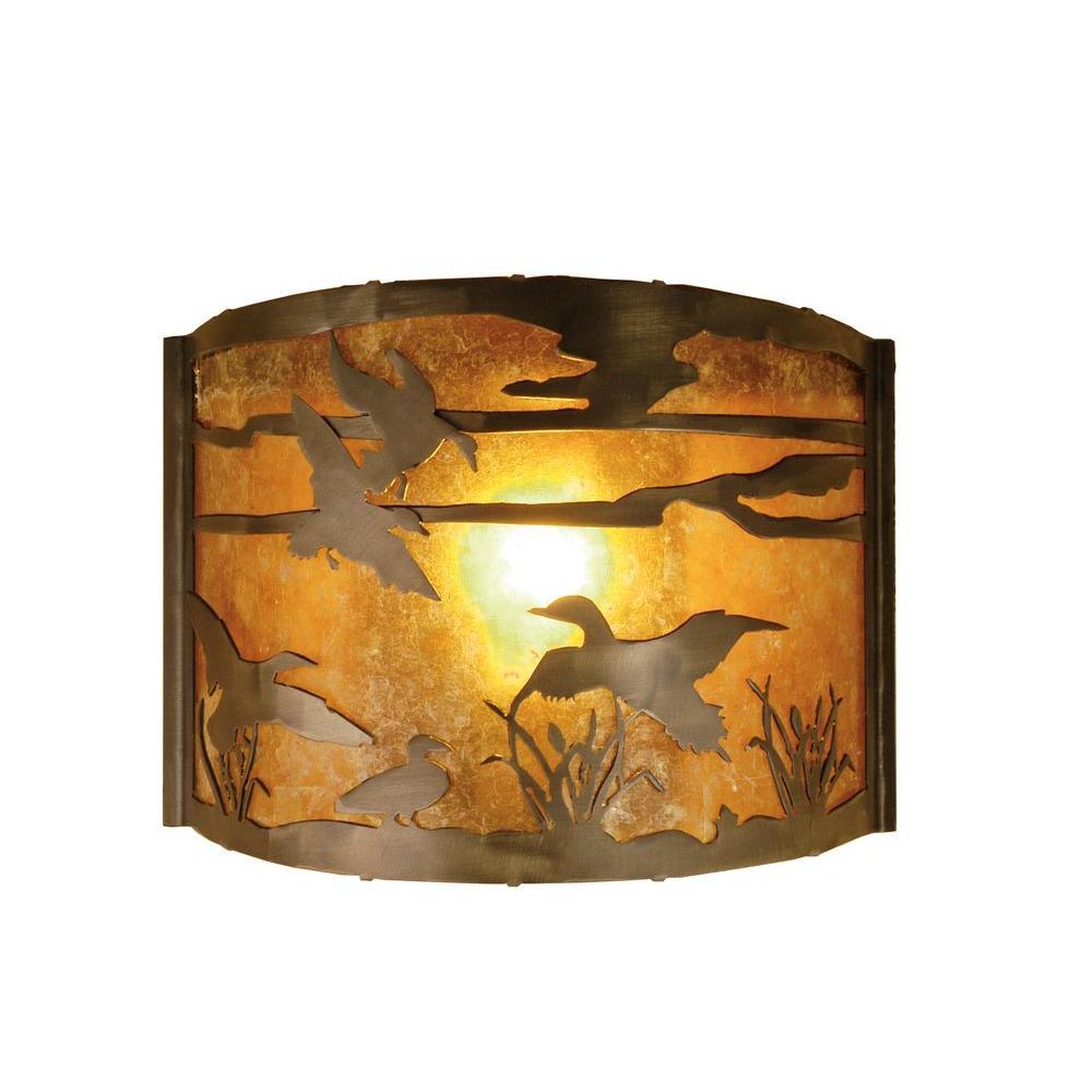 Illumine 1 Ducks in Flight Wall Sconce Antique Copper Finish Mica Glass