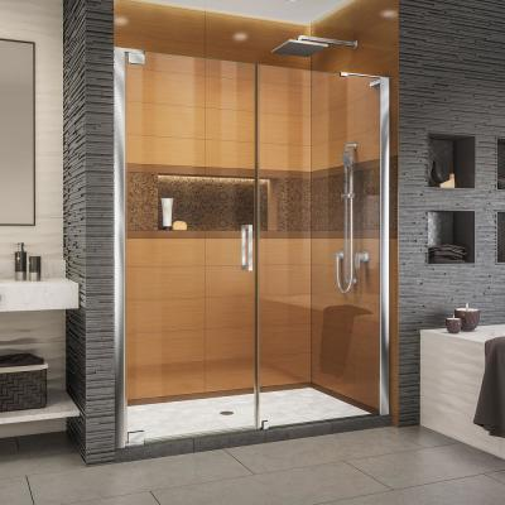 Elegance-LS 63-3/4 in. to 65-3/4 in. W x 72 in. H Frameless Pivot Shower Door in Chrome