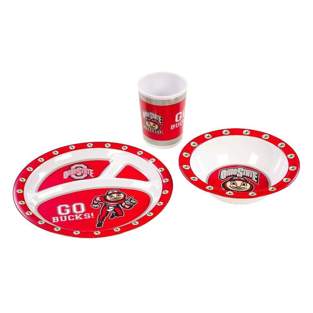 NCAA Ohio State Buckeyes 3-Piece Kid's Dish Set
