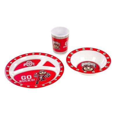NCAA Ohio State Buckeyes 3-Piece Kid's Dish Set