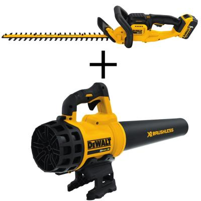 22 in. 20V MAX Lithium-Ion Cordless Hedge Trimmer with (1) 5.0Ah Battery, Charger and Bonus Handheld Leaf Blower