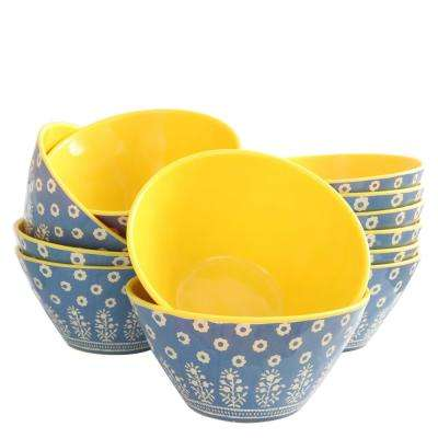 Zoey Blue and Yellow Melamine Bowl (Set of 12)