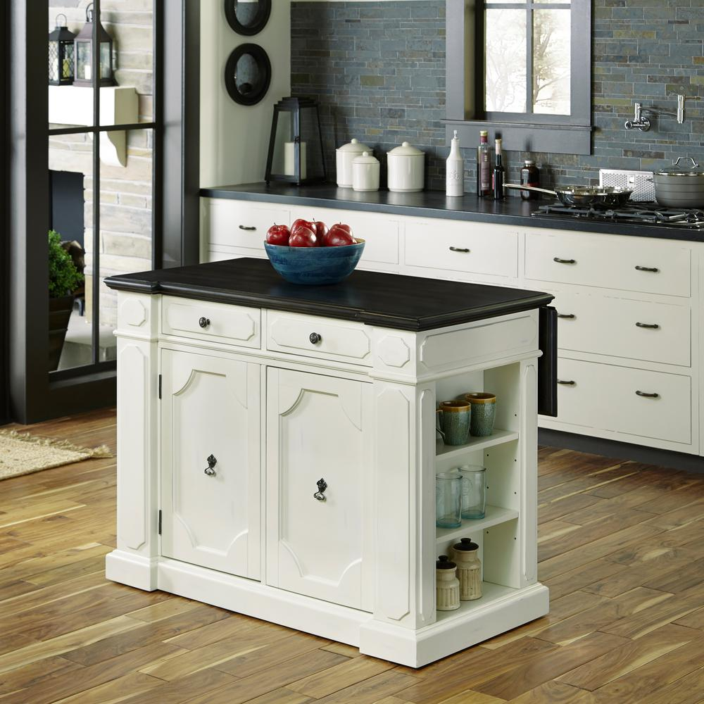 Home Styles Fiesta Weathered White Kitchen Island With Storage-5076 ...