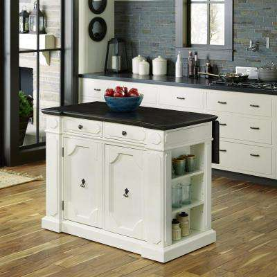 Fiesta Weathered White Kitchen Island With Storage