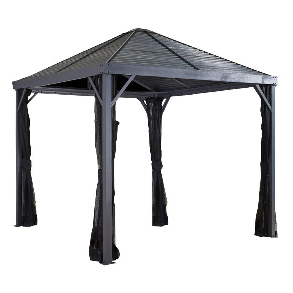8 ft. D x 8 ft. W Sanibel Aluminum Gazebo with Galvanized Steel Roof Panels and Nylon Mosquito Netting