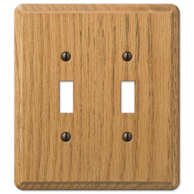 Contemporary 2 Gang Toggle Wood Wall Plate - Light Oak