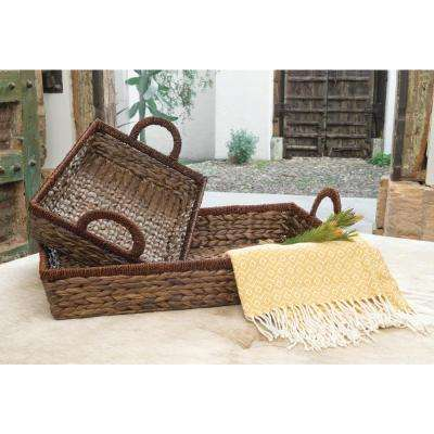 Saigon 29 in. x 20 in. and 24 in. x 14in. Decorative Trays in Natural (Set of 2)