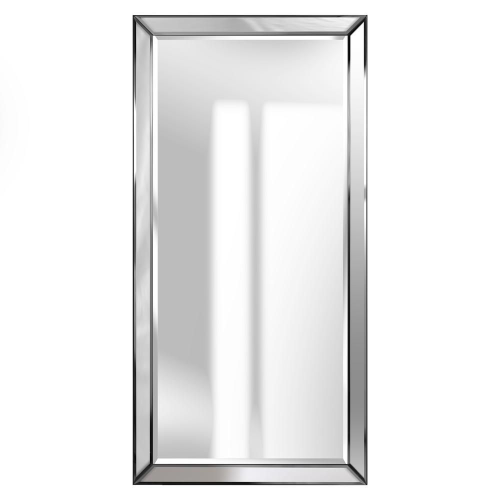 Beveled Accent Rectangular Silver Decorative Mirror