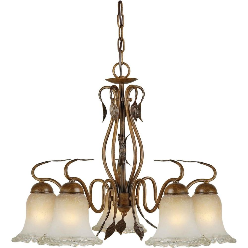 Talista 5-Light Rustic Sienna Bronze Chandelier with Umber Ice Glass Shade