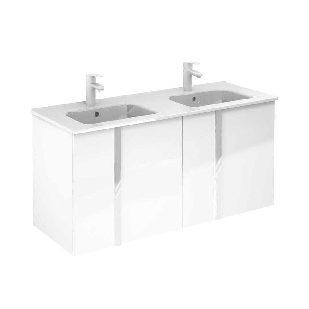 ROYO Onix 48 in. W x 18 in. D Vanity with Doors in White with Vanity Top in White Ceramic Basin