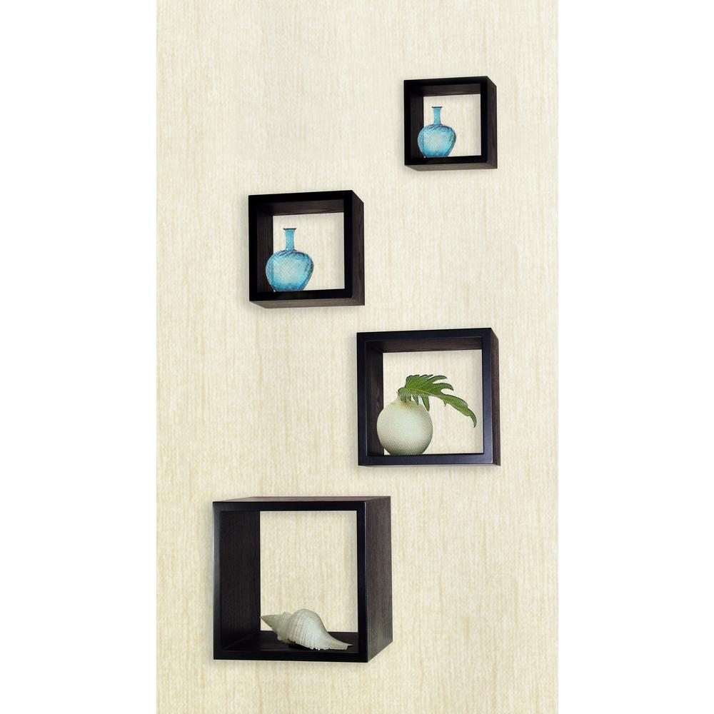 Ebony decorative wood storage wall cube set of 4 dwt 300ey the null ebony decorative wood storage wall cube set of 4 amipublicfo Image collections
