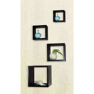 Ebony Decorative Wood Storage Wall Cube Set Of 4