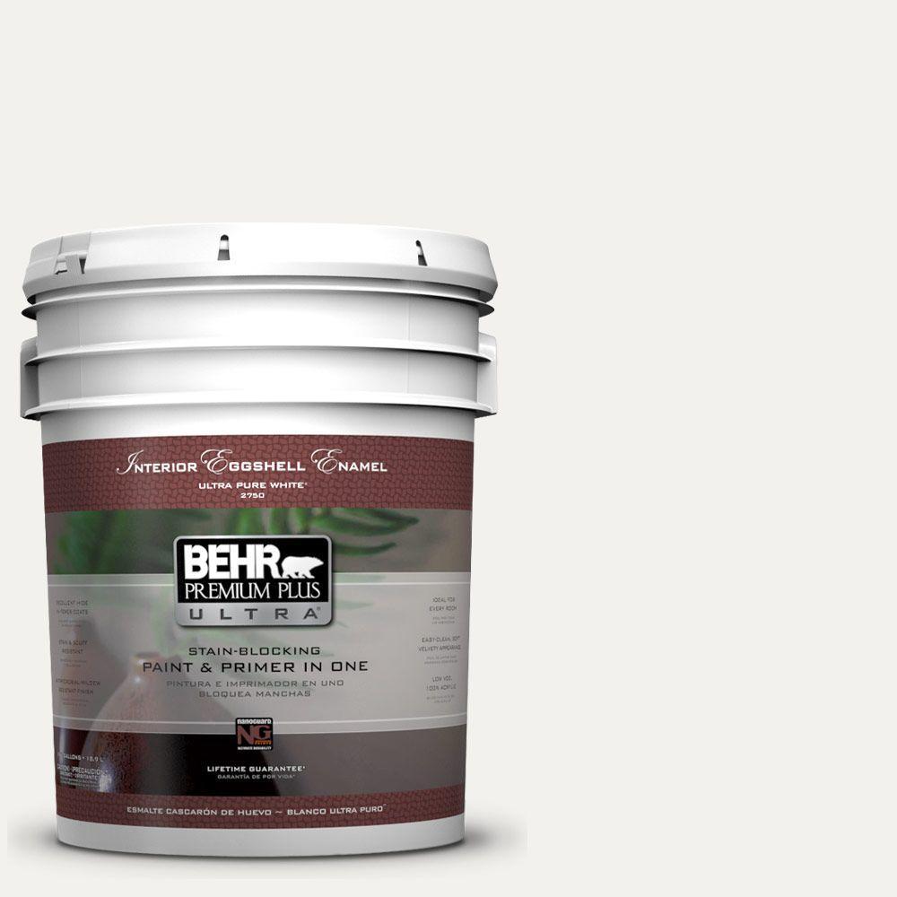BEHR Premium Plus Ultra 5-gal. #W-F-600 Snow Fall Eggshell Enamel Interior Paint
