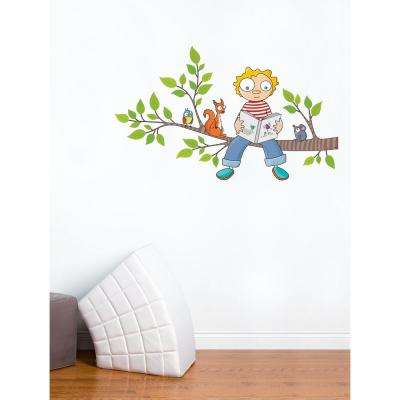 """(49.5 in x 30 in) Multi-Color """"Ludo's New Story"""" Kids Wall Decal"""