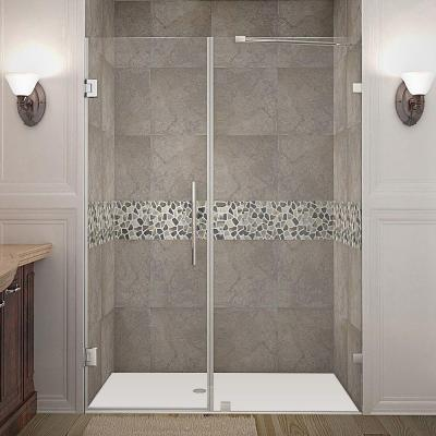 Nautis 56 in. x 72 in. Frameless Hinged Shower Door in Stainless Steel with Clear Glass