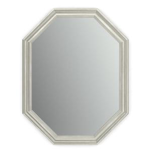 26 in. W x 34 in. H (M2) Framed Octagon Standard Glass Bathroom Vanity Mirror in Vintage Nickel