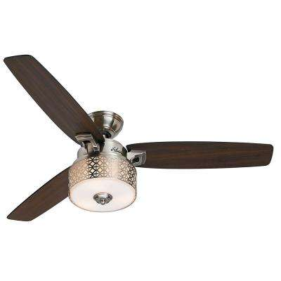 Camille 52 in. Indoor Brushed Chrome Ceiling Fan with light