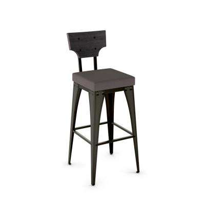 Rally 26 in. Semi-Transparent Gun Metal Warm Medium Grey Polyester Medium Dark Grey Wood Counter Stool