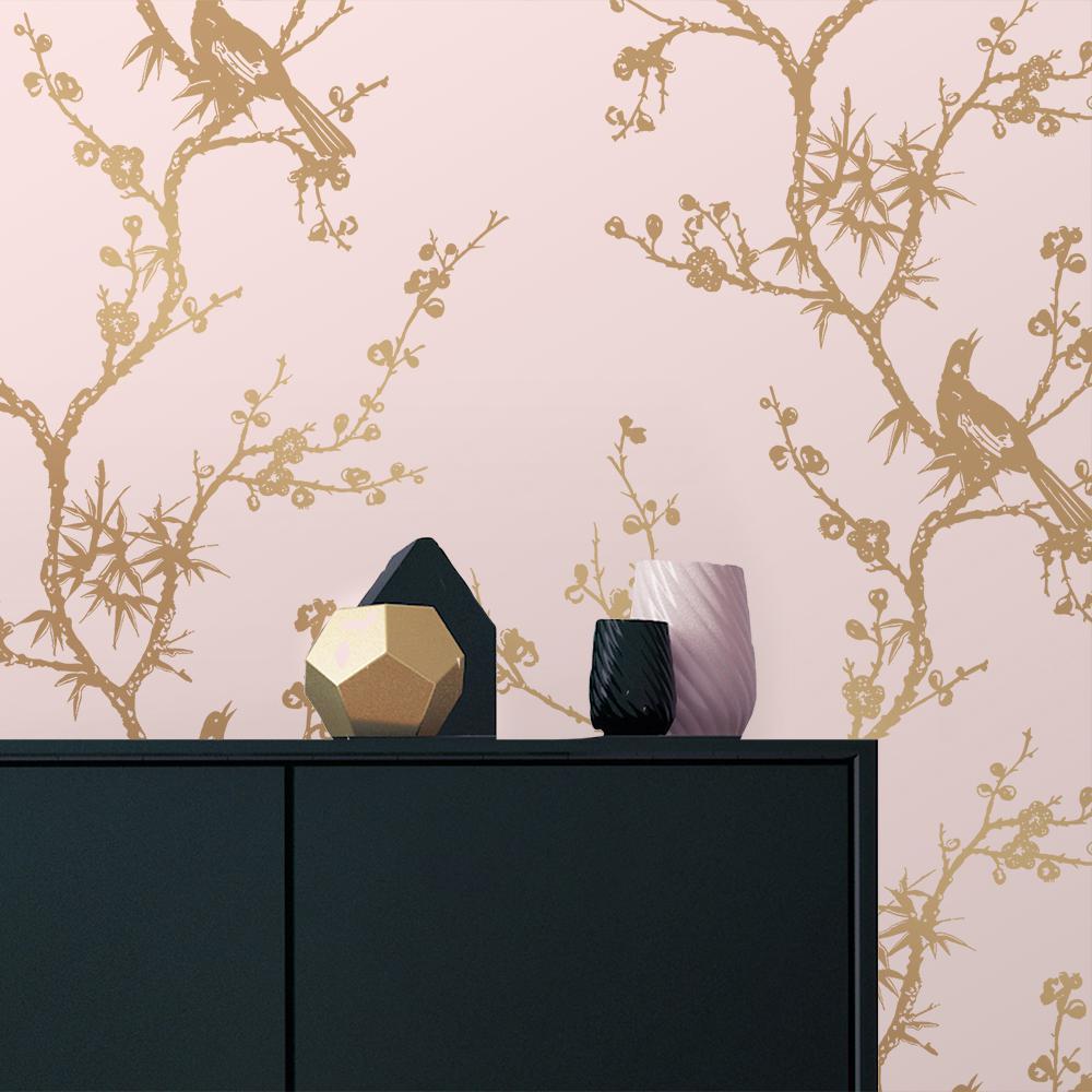 Cynthia Rowley Bird Watching Rose Pink And Gold Self Adhesive Removable Wallpaper