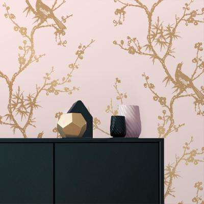 Cynthia Rowley for Tempaper Bird Watching Rose Pink and Gold Self-Adhesive Removable Wallpaper