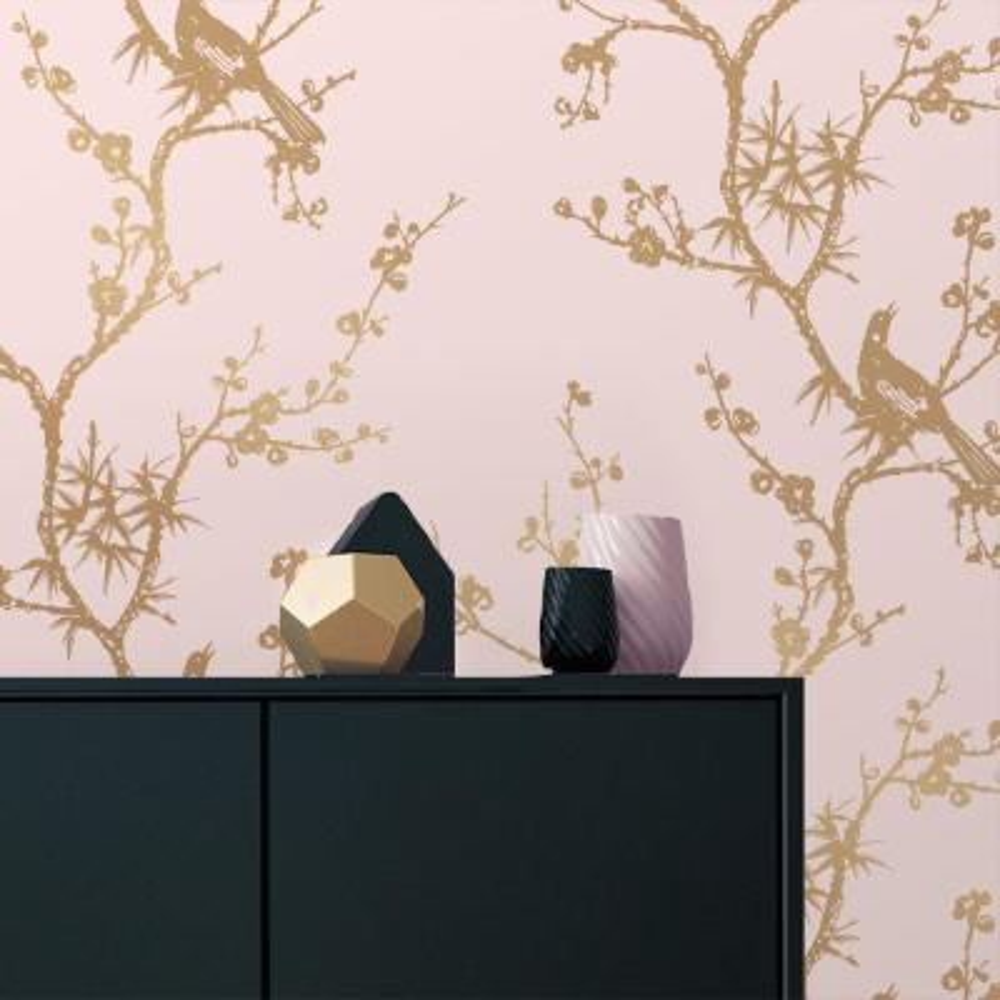Cynthia Rowley Bird Watching Rose Pink and Gold Self-Adhesive Removable Wallpaper