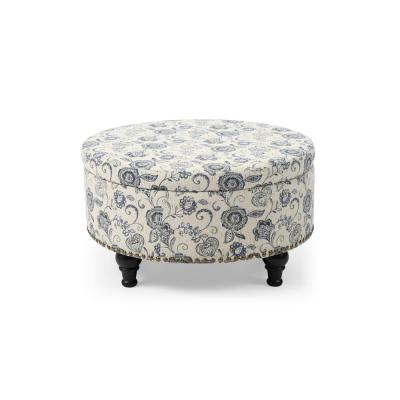 Multi-Colored Round Storage Ottoman with Nailhead Paisley