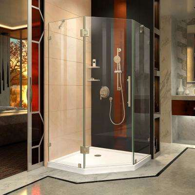 Prism Lux 36-5/16 in. x 72 in. Frameless Neo-Angle Hinged Neo-Angle Corner Shower Door in Brushed Nickel with Handle