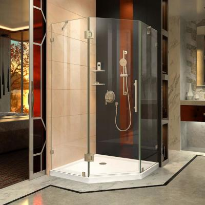 Prism Lux 34-5/16 in. x 34-5/16 in. x 72 in. Frameless Hinged Neo-Angle Shower Enclosure in Brushed Nickel