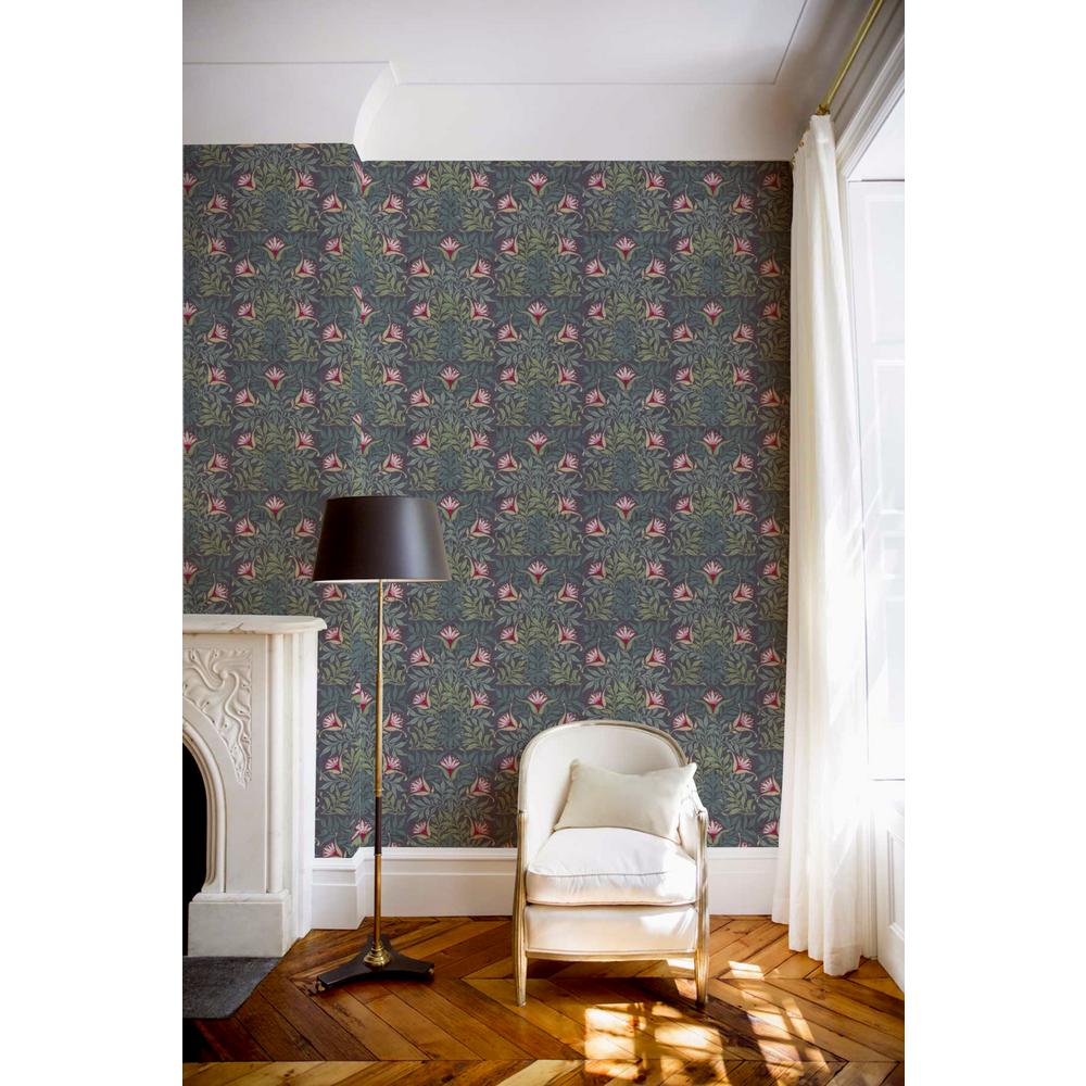 Debut Collection Flower Vine in Blue/Green Removable and Repositionable Wallpaper