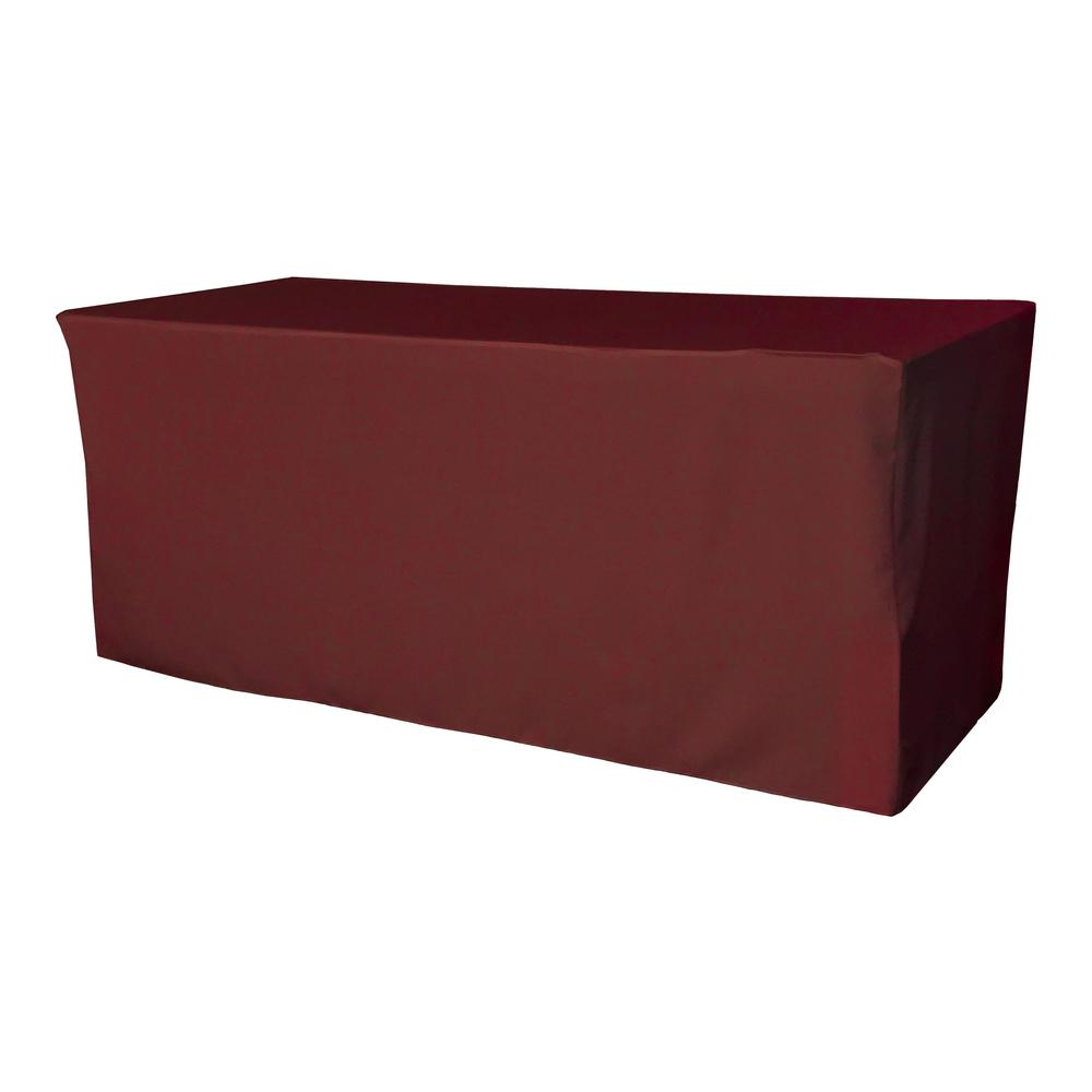 72 in. L x 24 in. W x 30 in. H Burgundy Polyester Poplin Fitted Tablecloth