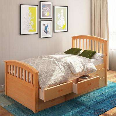 Oak Twin Size Platform Bed with 6-Drawers