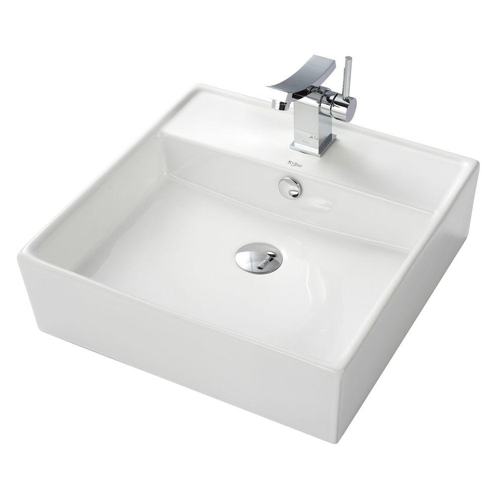 KRAUS Square Ceramic Vessel Sink in White with Unicus Vessel Sink Faucet in Chrome
