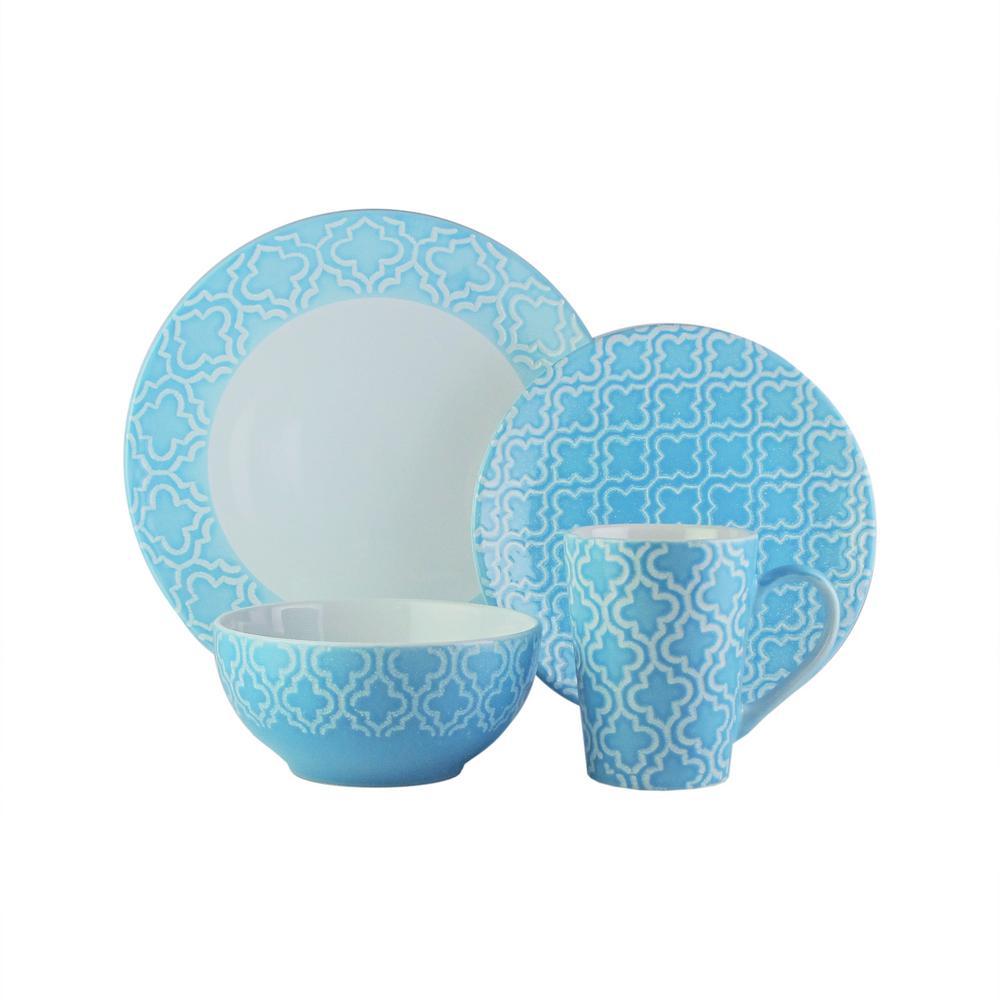 16-Piece Blue Quatre Dinnerware Set