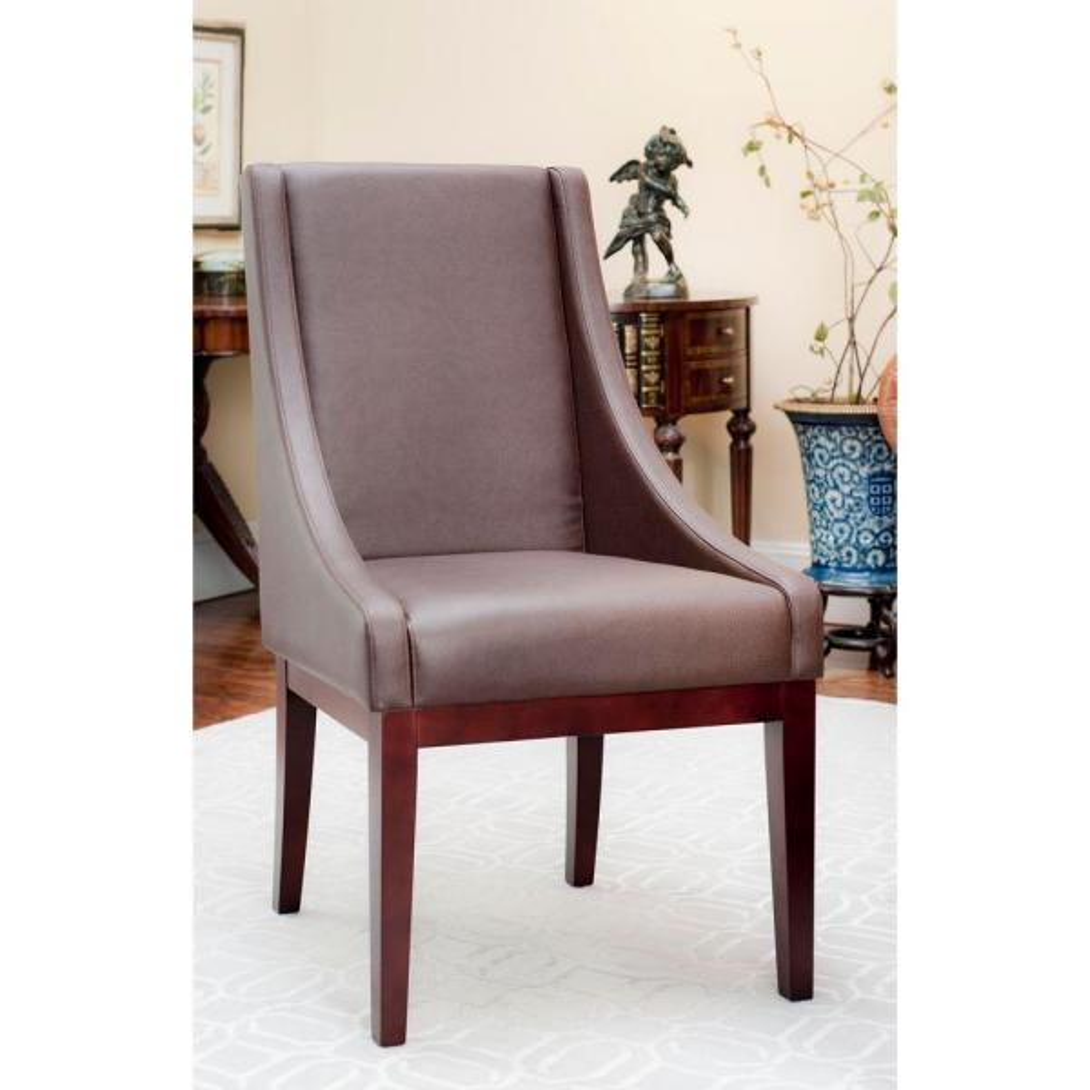 Safavieh Mercer Brown/Dark Cherry Finish Bicast Leather Arm Chair