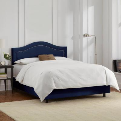 Jerri  Velvet Navy Twin Inset Bed with Pewter Nail Buttons
