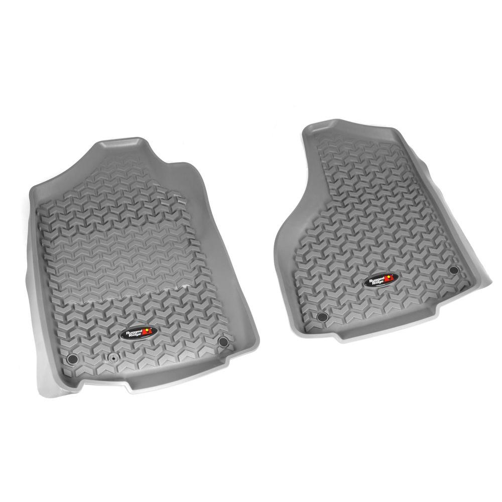 Rugged Ridge Floor Liner Front Pair Gray 2012-2013 Ram 1500-3500 Reg and Quad Cab