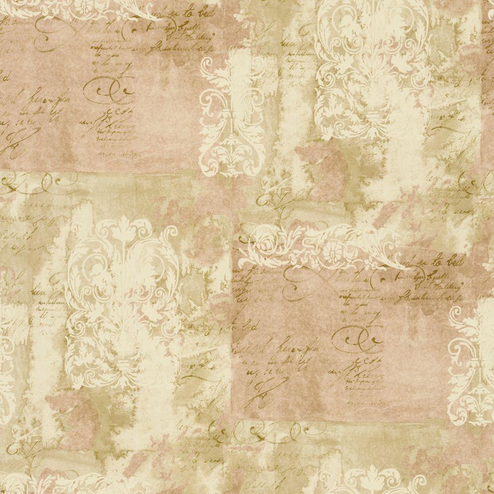 The Wallpaper Company 56 sq. ft. Pink Scrapbook Script Wallpaper-DISCONTINUED