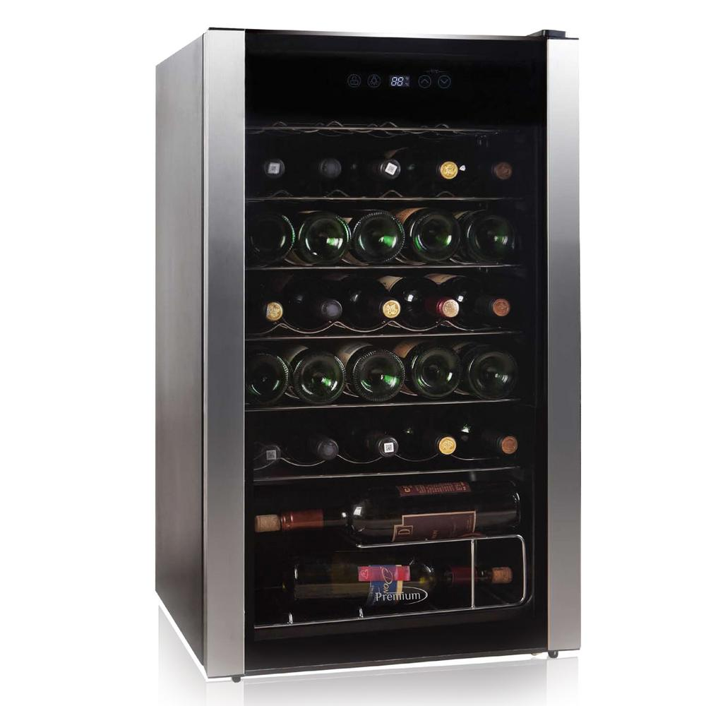 Premium 19 8 in 34 bottle wine cooler pwc346ms the home for Modern homes 8 bottle wine cooler