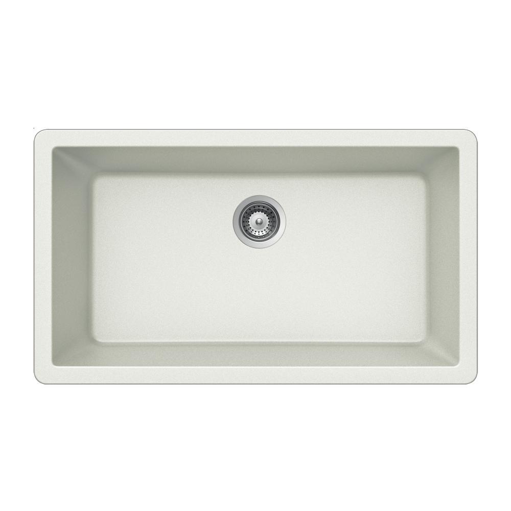 HOUZER Quartztone Undermount Granite Composite 33 in. Single Basin Kitchen  Sink in Cloud