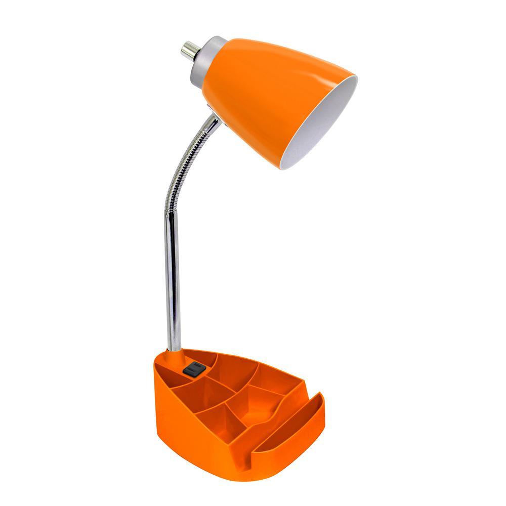 18.5 in. Gooseneck Organizer Desk Lamp with Holder and Charging Outlet, Orange
