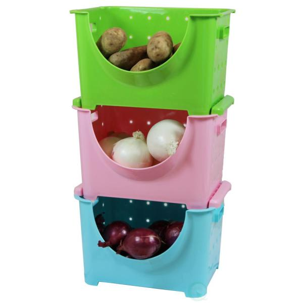 Basicwise Blue, Pink and Green Stackable Plastic Storage Containers Stacking