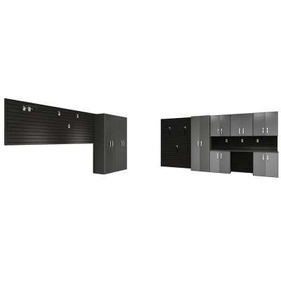 Modular Wall Mounted Garage Cabinet Storage Set with Workstation/Accessories in Black/Graphite Carbon Fiber (19-Piece)