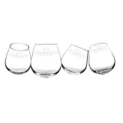 Let's Get Tipsy 12 oz. Tipsy Wine Glasses (Set of 4)