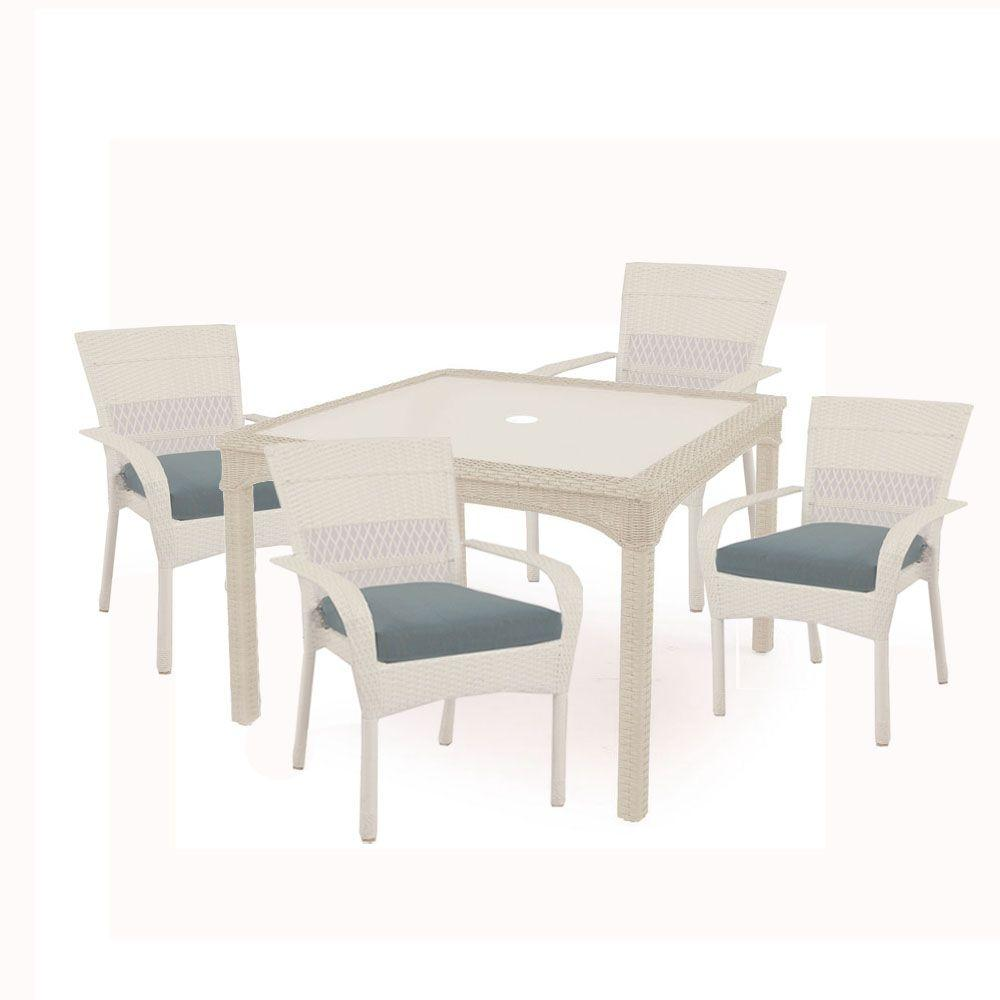 Martha Stewart Living Charlottetown White 5 Piece All Weather Wicker Patio  Dining Set With