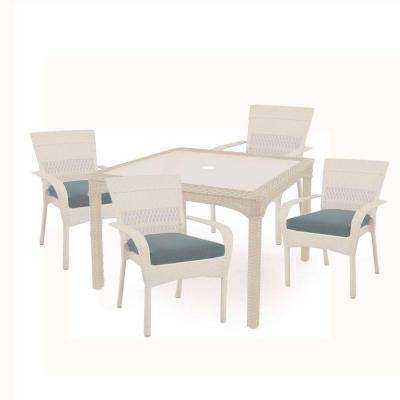 Charlottetown White 5-Piece All-Weather Wicker Patio Dining Set with Washed Blue Cushion