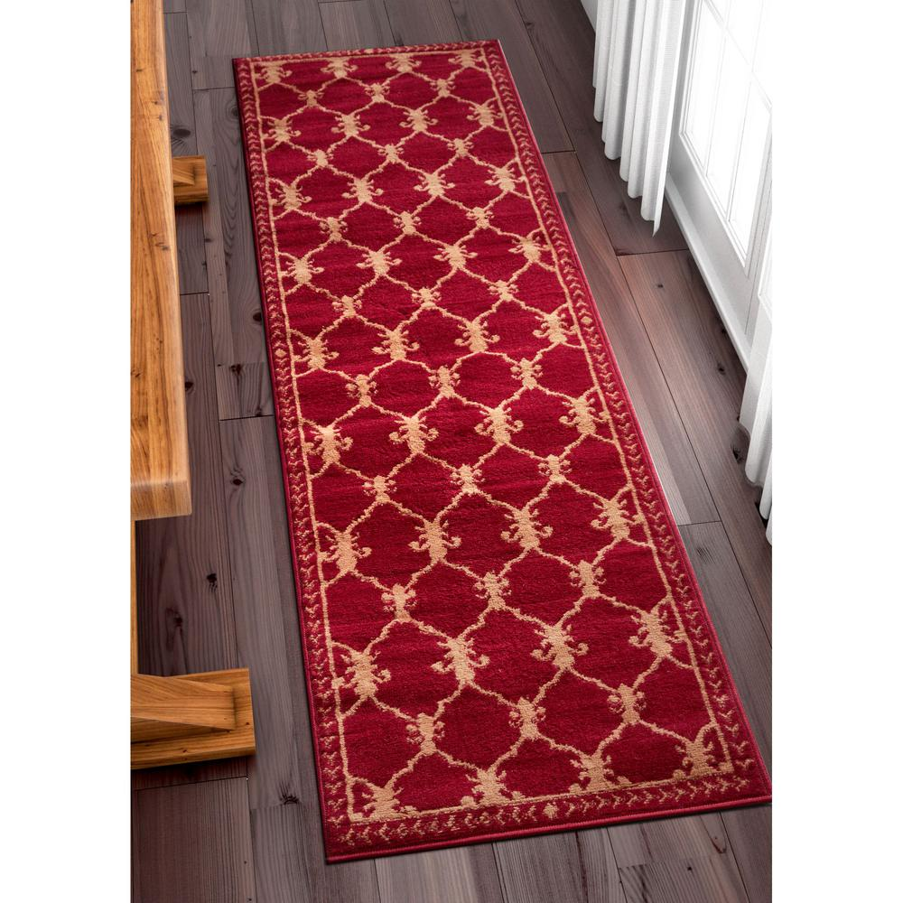 Well woven miami esplanade fleur de lis royal trellis red 2 ft x 7 ft